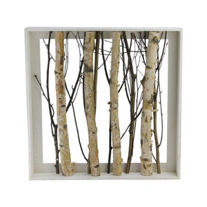 "17.55"" Standing Mixed Branches in Rustic Wood Frame Table or Wall Decoration"