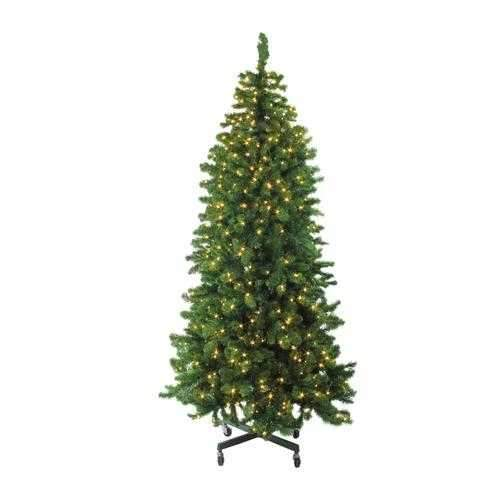 7.5' Pre-Lit Slim Olympia Pine Artificial Christmas Tree - Warm White LED Lights