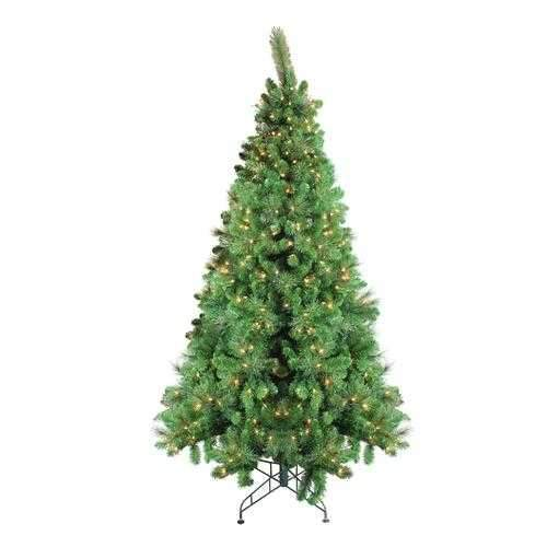 7.5' Pre-Lit Canterbury Spruce with Dew Drops Artificial Christmas Tree - Clear Lights