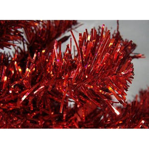 3' Pre-Lit Red Artificial Pencil Tinsel Christmas Tree - Red Lights