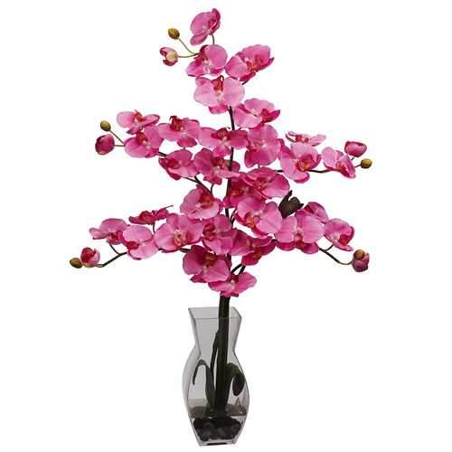 Phalaenopsis w/Vase Silk Flower Arrangement