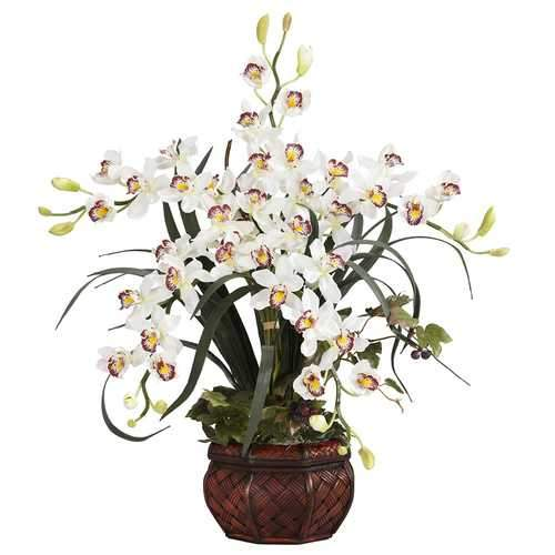Cymbidium w/Decorative Vase Silk Arrangement