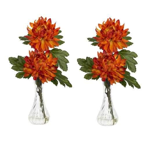 Mum w/Bud Vase Silk Flower Arrangement (Set of 2)