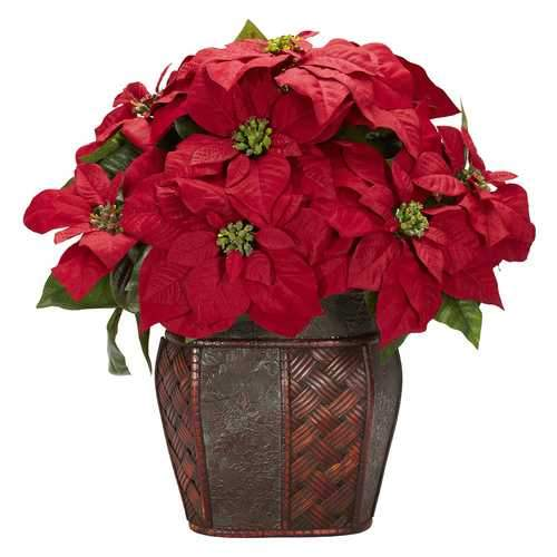 Poinsettia w/Decorative Vase Silk Arrangement