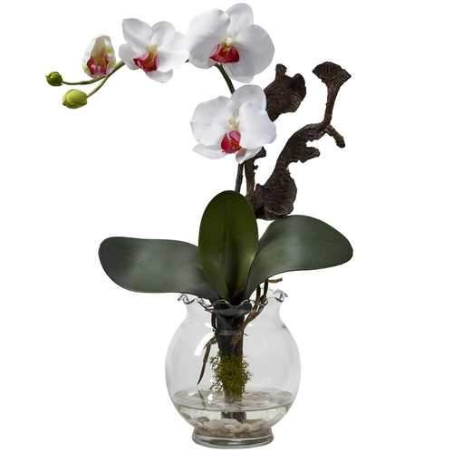 Mini Phalaenopsis w/Fluted Vase Silk Flower Arrangement