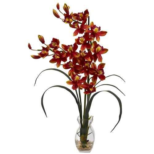 Cymbidium Orchid w/Vase Arrangement Silk