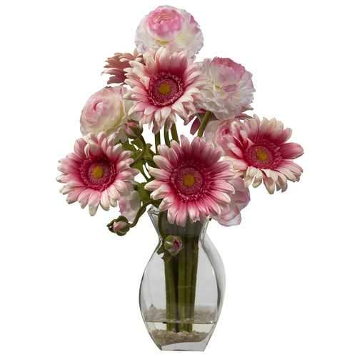 Gerber Daisy & Ranunculus Delight Arrangement Silk