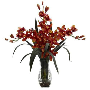 Triple Cymbidium w/Vase Arrangement Silk