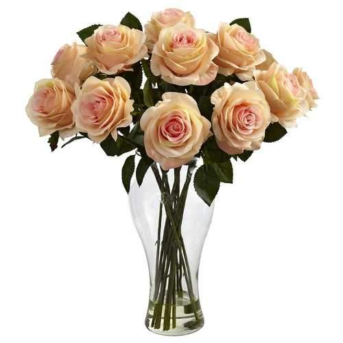 Blooming Roses w/Vase Silk Arrangement