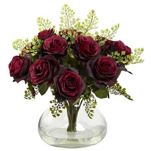 Rose & Maiden Hair Arrangement w/Vase Silk
