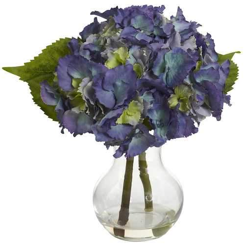 Blooming Hydrangea w/Vase Arrangement Silk