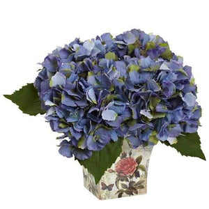 Hydrangea with Floral Planter Silk Arrangement