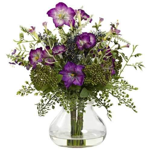 Mixed Morning Glory w/Vase Silk Arrangement