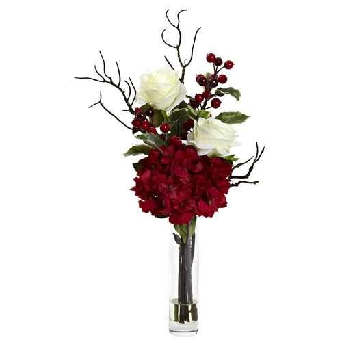 Merry Christmas Rose Hydrangea Arrangement Silk