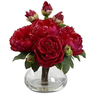 Peony & Rose w/Vase Silk Arrangement