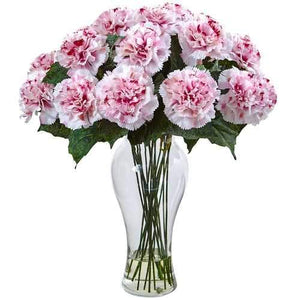 Blooming Carnation Arrangement w/Vase Silk
