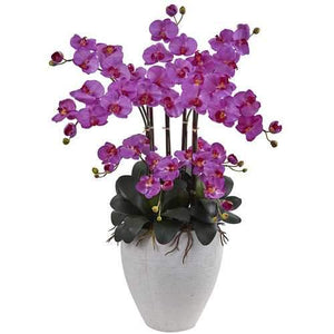 Phalaenopsis Orchid with White Planter Silk Arrangement