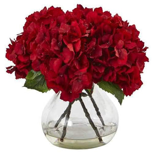 Red Hydrangea with Vase Silk Flower Arrangement