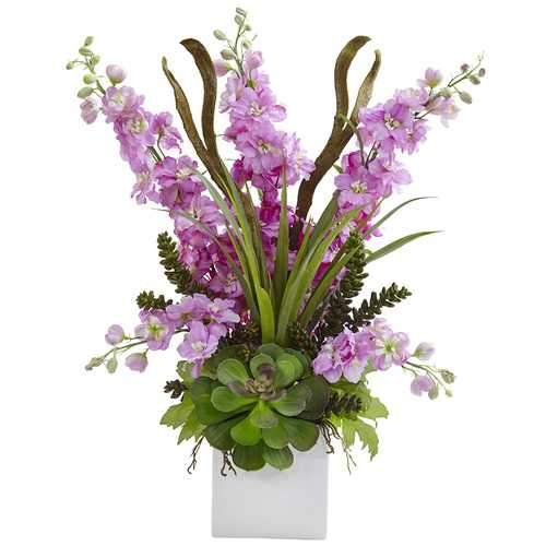 Delphinium and Succulent Arrangement Silk