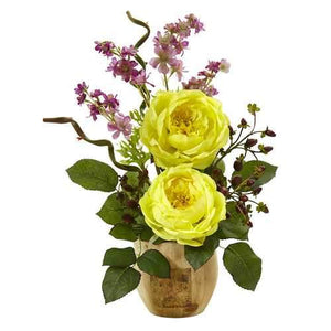 Large Rose and Dancing Daisy in Wooden Pot Silk Arrangement