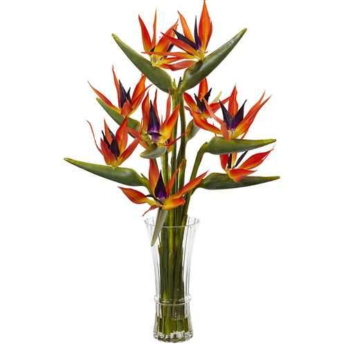 Large Birds of Paradise in Vase Silk Arrangement