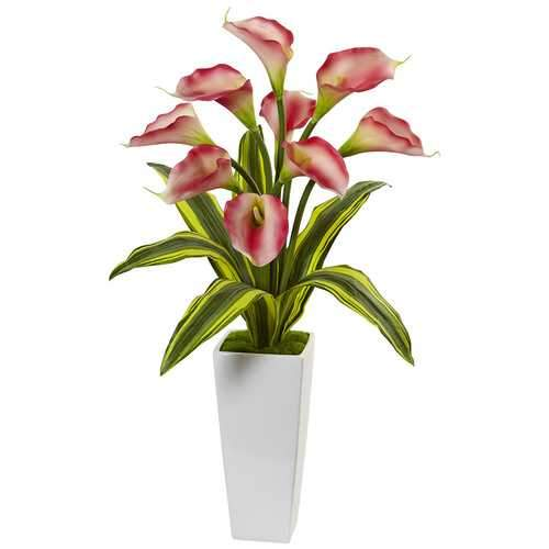 Callas with Tropical Leaves in Glossy Planter Silk Arrangement