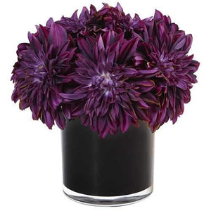 Dahlia Mum in Black Glossy Cylinder Silk Arrangement