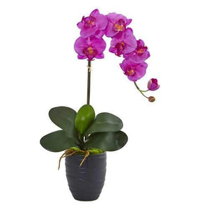 Phalaenopsis Orchid Artificial Arrangement in Black Vase Silk Arrangements