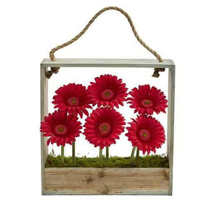 Gerber Daisy Garden Artificial Arrangement in Hanging Frame Silk Arrangements