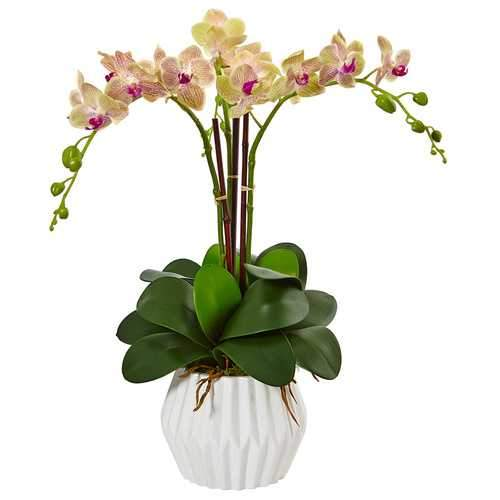 Phalaenopsis Orchid Arrangement in White Vase Silk