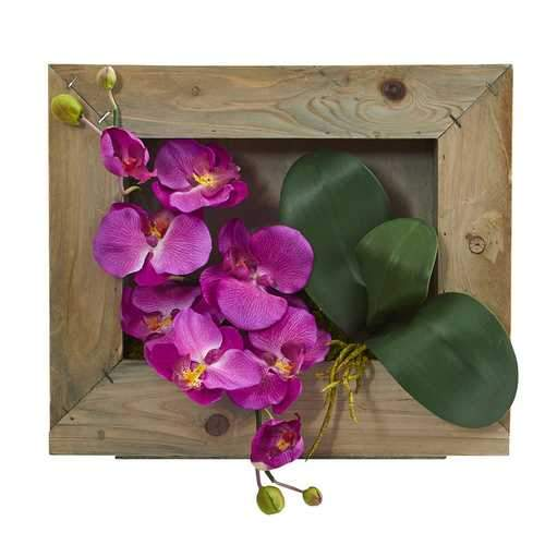 Phalaenopsis Orchid Artificial Arrangement in Wooden Picture Frame Silk Arrangements
