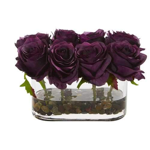 5.5 Blooming Roses in Glass Vase Artificial Arrangement Silk Arrangements