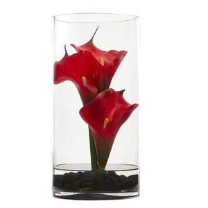 12 Calla Lily Artificial Arrangement in Cylinder Glass Silk Arrangements""