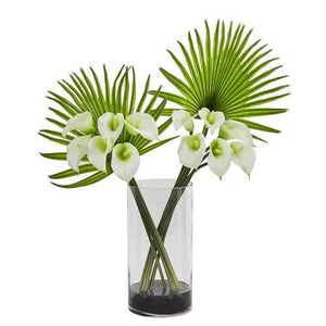 Calla Lily and Fan Palm Artificial Arrangement in Cylinder Glass Silk Arrangements