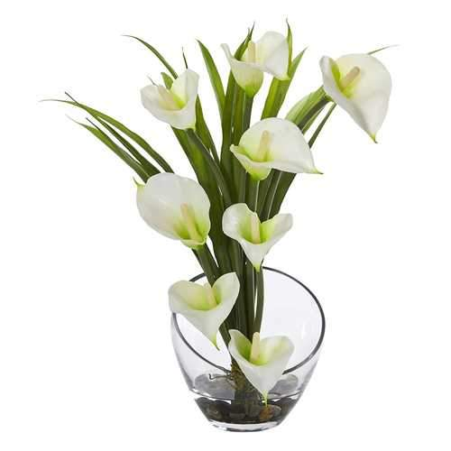 15.5 Calla Lily and Grass Artificial Arrangement in Vase Silk Arrangements