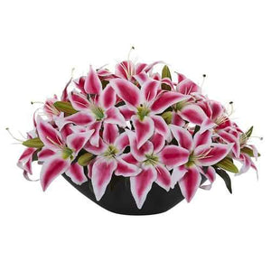 Lily Centerpiece Artificial Floral Arrangement Silk Arrangements