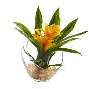8 Tropical Bromeliad in Angled Vase Artificial Arrangement Silk Arrangements