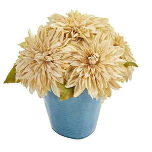 11 Dahlia Artificial Arrangement in Blue Ceramic Vase Silk Arrangements