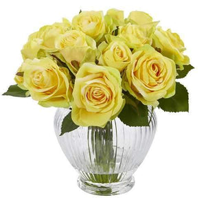 9 Rose Artificial Floral Arrangement in Elegant Glass Vase Silk Arrangements