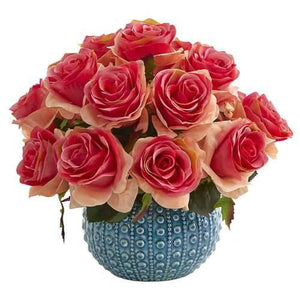 11.5 Rose Artificial Arrangement in Blue Ceramic Vase Silk Arrangements