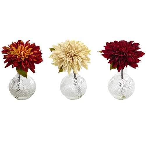 Dahlia w/Decorative Vase (Set of 3) Silk Arrangement