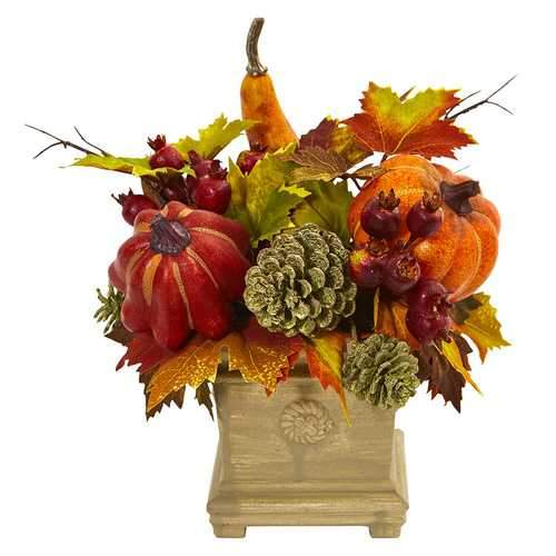 Pumpkin, Gourd, Berry and Maple Leaf Artificial Arrangement Silk Arrangements