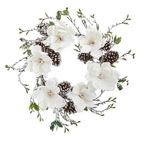 24 Snowed Magnolia / Pine Cone Wreath Wreaths