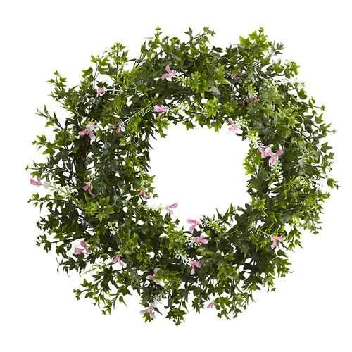 18 Mini Ivy & Floral Double Ring Wreath w/Twig Base