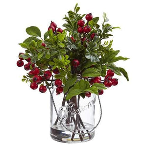 Berry Boxwood in Glass Jar Silk Arrangement