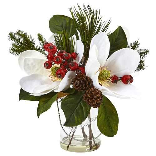 Magnolia, Pine, and Berry in Glass Vase Silk Arrangement