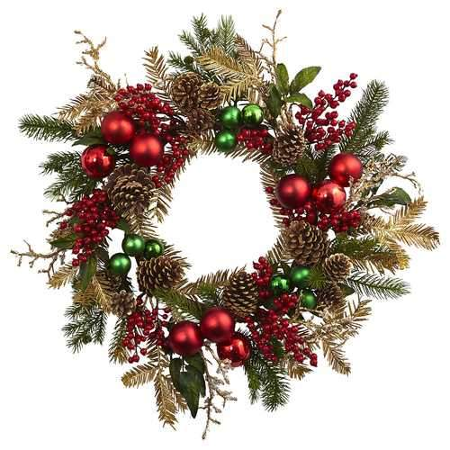 24 Ornament, Pine & cone Wreath