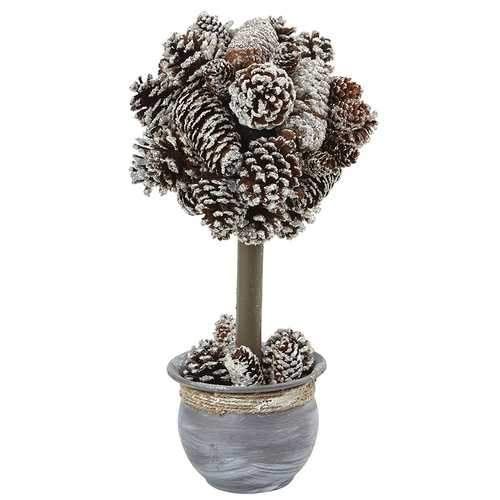Snowy Pinecone Top Silk Arrangement