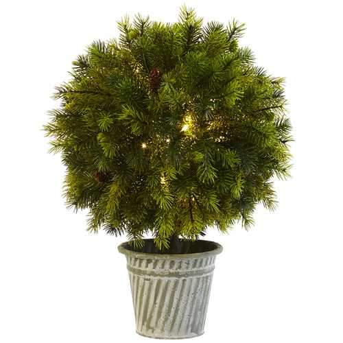18 Pine Ball in Iron Top Silk Plant