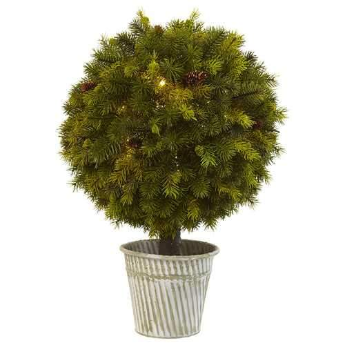 23 Pine Ball in Iron Top Silk Plant